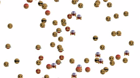 emoticono : Animation of emoji icons flying up on white background Archivo de Video
