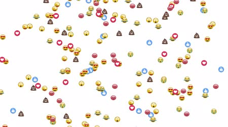 lol : Animation of group of emojis, thumbs up and heart icons falling on white background Stock Footage