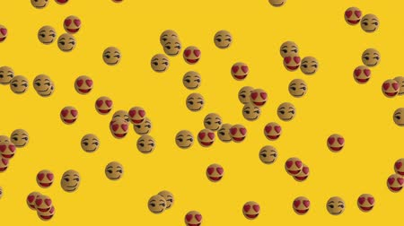 risonho : Animation of group of emoji icons flying from left to right on yellow background