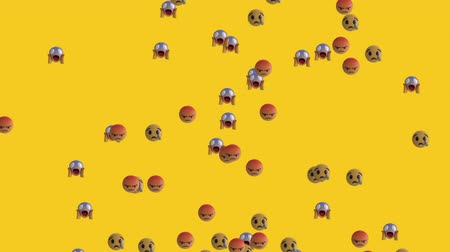 emoticon : Animation of group of emoji icons flying up on yellow background