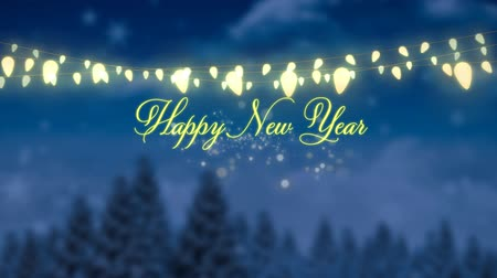 seasons changing : Animation of the words Happy New Year in yellow letters with string of fairy lights, fireworks and fir trees at night
