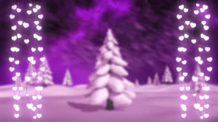changing lights : Animation of winter scenery with two glowing strings of Christmas fairy lights with fr trees and snow falling on purple background Stock Footage