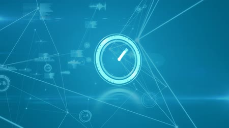 pace : Animation of fast moving clock with network of connections and data processing on blue background
