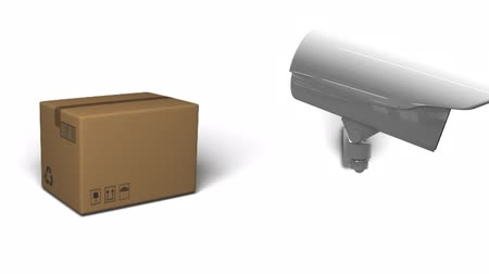 camera move : Animation of CCTV camera moving around and cardboard box dropping on white background