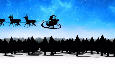 trenó : Animation of a black silhouette of Santa Claus in sleigh being pulled by reindeers with snow falling and black fir trees on blue background