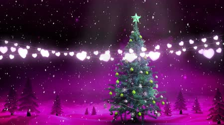 luna nueva : Animation of winter scenery with glowing string of Christmas fairy lights, fir trees, Christmas tree and snow falling in the background