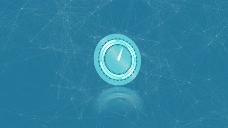 pace : Animation of clock moving fast and network of connections on blue background