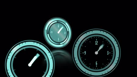 pace : Animation of three green clocks moving fast on black background Stock Footage