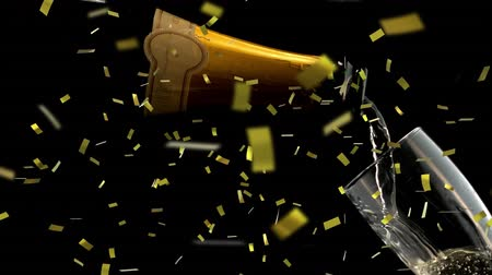 flet : Animation of champagne being poured into a glass with golden confetti falling during New Year Eve celebrations on black background