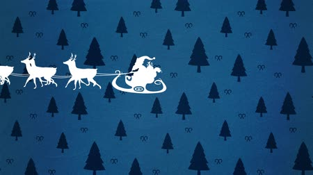 trenó : Animation of a white silhouette of Santa Claus in sleigh being pulled by reindeers with black fir trees on blue background