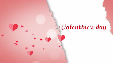 szakadt : Animation of the words Valentines Day written in red with floating hearts on pink and white background