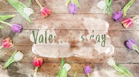luty : Animation of the words Valentines Day written in green on wooden boards surrounded by multi coloured flowers Wideo