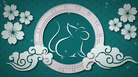 lunar new year : Animation of a white rat in a spinning wheel with turning white flowers, moving cloud shapes and falling snow on a blue background 4k