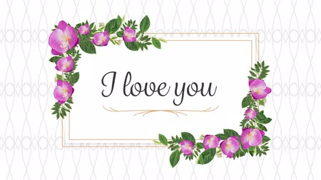 i love you : Animation of the words I Love You written in black in pink frame with flowers on white patterned background Stock Footage