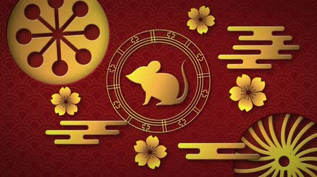 lunar new year : Animation of a golden rat in a spinning wheel with turning gold circular patterns and flowers on a red background 4k