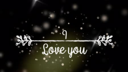 i love you : Animation of the words I Love You written in white with white decorated line and glowing spots of light on black background