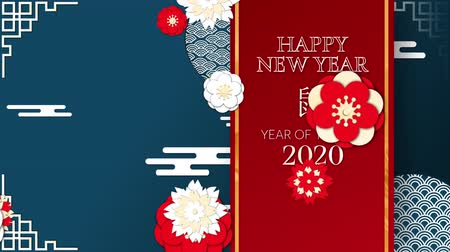 lunar new year : Animation of the words Happy New Year 2020 Year of the Rat, written in white letters on a red vertical banner with moving red and white flowers and patterns on a dark blue background
