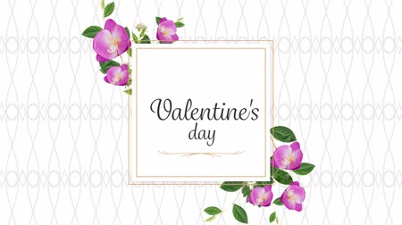 desenli : Animation of the words Valentines Day written in black in pink frame with flowers on white patterned background Stok Video