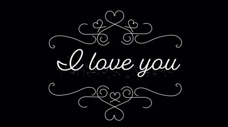 i love you : Animation of the words I Love You written in white with white decoration on black background