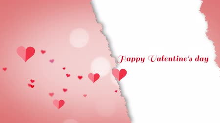 szakadt : Animation of the words Happy Valentines Day written in red with floating hearts on pink and white background