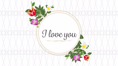 eu : Animation of the words I Love You written in black in pink frame with flowers on white patterned background Vídeos