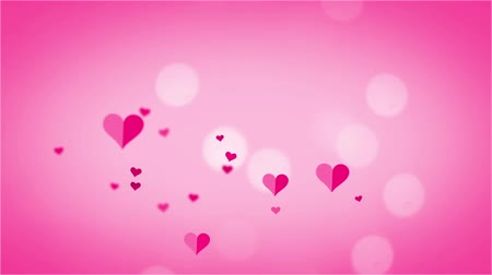 beauty spot : Animation of pink hearts and spots of light floating on light pink background