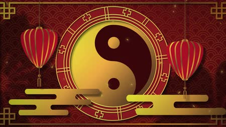 yang : Animation of a golden ying yang symbol in a spinning wheel with moving red lanterns and falling snow on a red background 4k