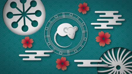 lunar new year : Animation of a white rat in a spinning wheel with turning white circular patterns and red flowers on a blue background 4k Stock Footage