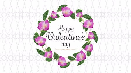 desenli : Animation of the words Happy Valentines Day written in black in pink frame with flowers on white patterned background
