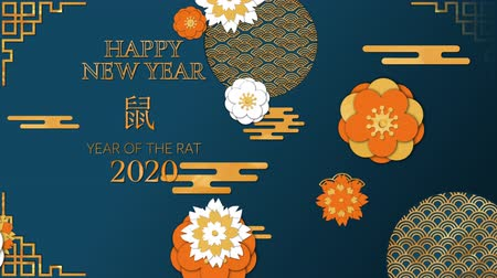 лунный : Animation of the words Happy New Year, Year of the Rat, 2020, written in gold letters, with moving yellow, orange and white flowers and patterns on a blue background Стоковые видеозаписи
