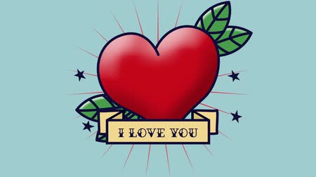 i love you : Animation of the words I Love You written in black on yellow banner with red heart and green leaves on blue background Stock Footage