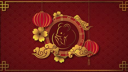 cny : Animation of a golden rat in a spinning wheel with turning gold flowers, cloud shapes and moving red lanterns on a red patterned background 4k