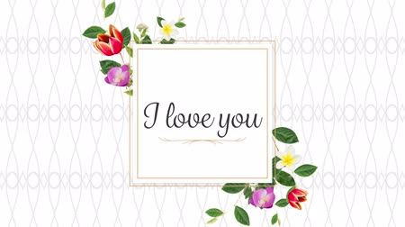 desenli : Animation of the words I Love You written in black in pink frame with flowers on white patterned background Stok Video