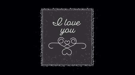 i love you : Animation of the words I Love You written in white in frame with white decoration on black background