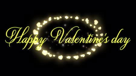oval : Animation of the words Happy Valentines Day written in yellow with glowing fairy lights oval on black background