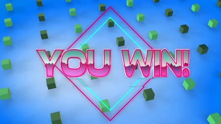 you win : Animation of the words You Win written in pink metallic letters with 3d green metallic cubes moving in formation on blue background