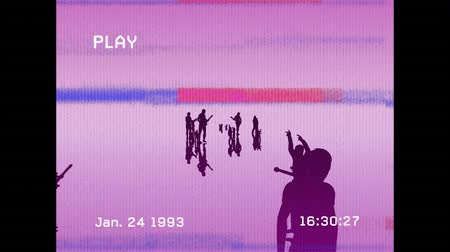 gravador : Animation of a vintage video recording of people in silhouette standing and holding music instruments on pink background Stock Footage
