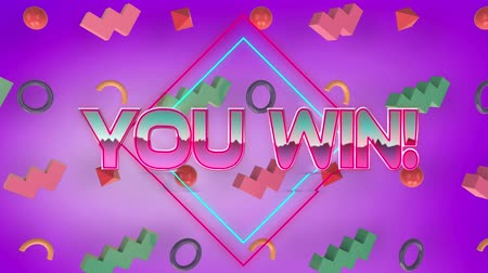 you win : Animation of the words You Win! written in pink metallic letters with 3d colourful metallic abstract shapes moving in formation on purple background Stock Footage