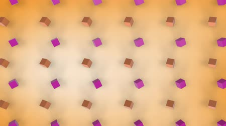 fade in : Animation of 3d pink and orange cubes with shadows moving in formation on a faded orange background Stock Footage