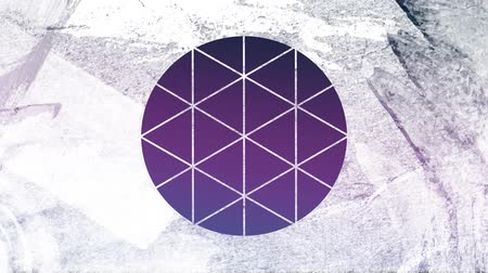 visto : Animation of a purple and blue background seen through a white circle shaped window in the foreground Stock Footage