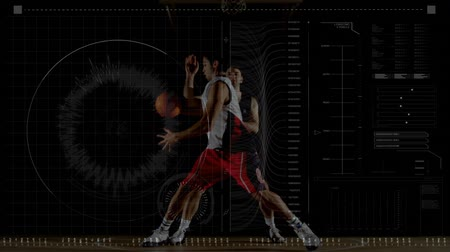 czek : Animation of data processing, scope scanning and analytics with two men playing basketball on an indoor court in the background