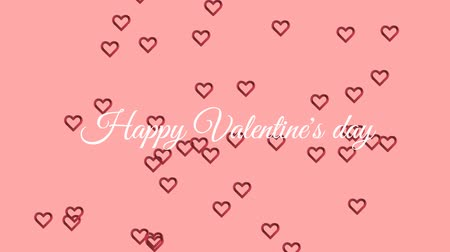 hayranlık : Animation of the words Happy Valentines Day written in white text, with red outline heart shaped balloons floating up on a pale pink background