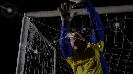 вратарь : Animation of a network of connections and data sharing points with a football goalkeeper saving a goal in the background Стоковые видеозаписи