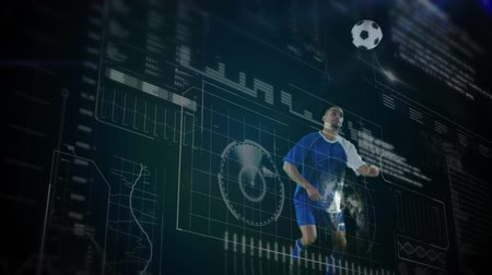 cabeçalho : Animation of data processing, scope scanning and analytics with a football player wearing a team strip heading a ball during a football match in the background