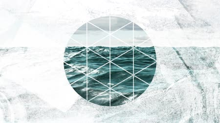 visto : Animation of waves in the sea under a cloudy sky seen through a white circle shaped window in the foreground Stock Footage