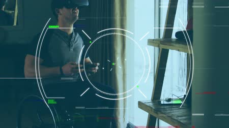 escopo : Animation of circular scope scanning and lines of interference, with a Caucasian man wearing a VR headset and using a game control pad in the background