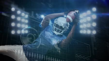 étendue : Animation of data processing, scope scanning and analytics with an American football player catching a football in front of floodlights in the background