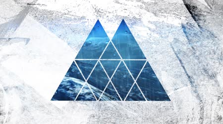 visto : Animation of a close up of moving sea water seen through a white double peaked triangular shaped window in the foreground