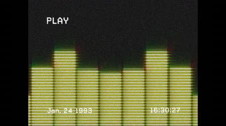 bassê : Animation of a screen with the word play and the date and time written in white text, with lines of interference, showing the moving yellow bars of a graphic eq meter display with music playing through it on a black background