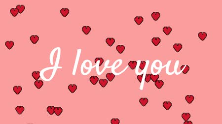 hayranlık : Animation of the words I Love You written in white text, with red heart shaped balloons floating up on a pale pink background